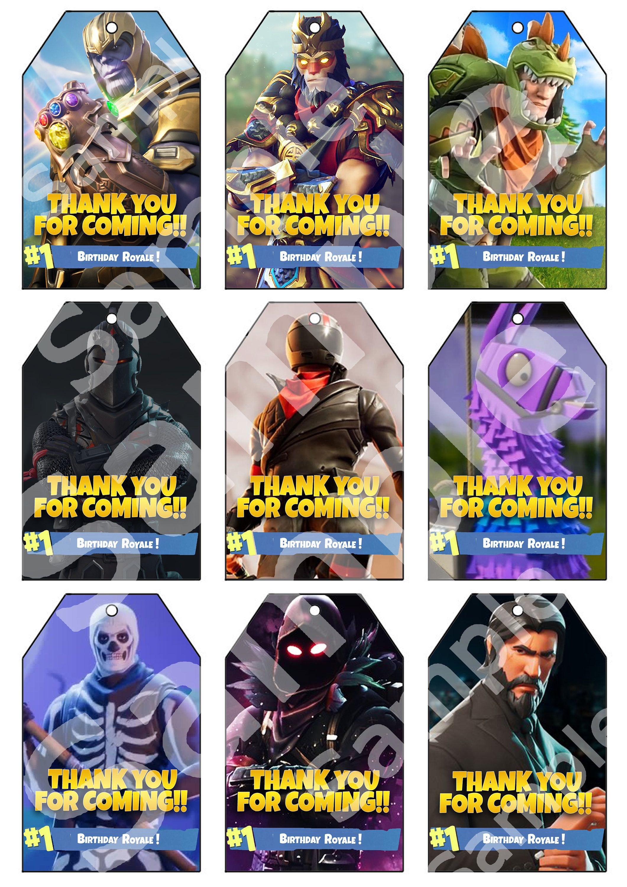 Premium Fortnite Party Thank You Tags Instant Download fornite en 2019 Invitaciones de