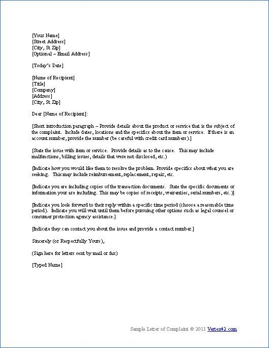complaint letter sample letters with must know tips easy ask - memo template free download