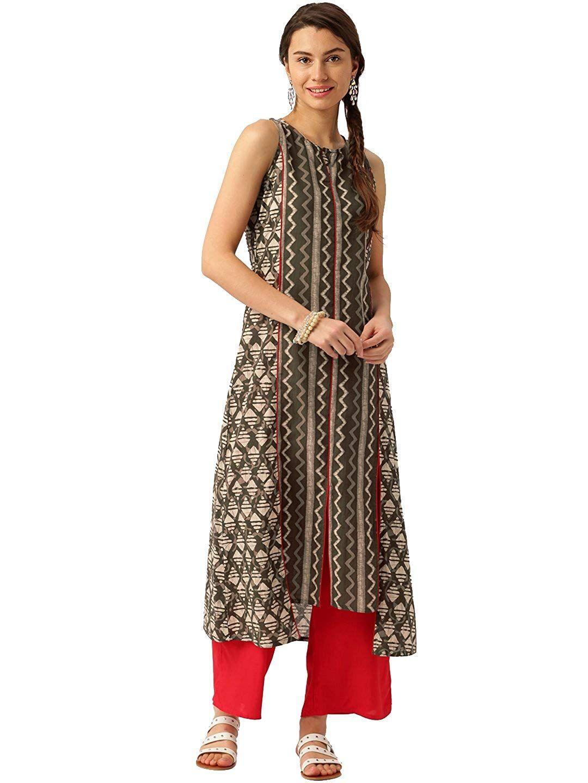 0504633ac0 Jaipur Kurti Women Kurta with Palazzo (Olive Green & Red): Amazon.in ...
