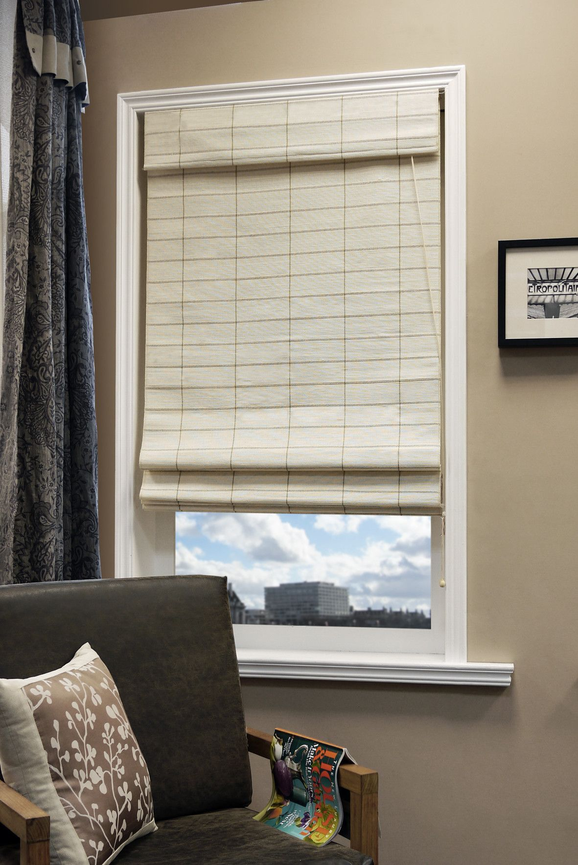Kyoto cotton and jute privacy roman shade window covering