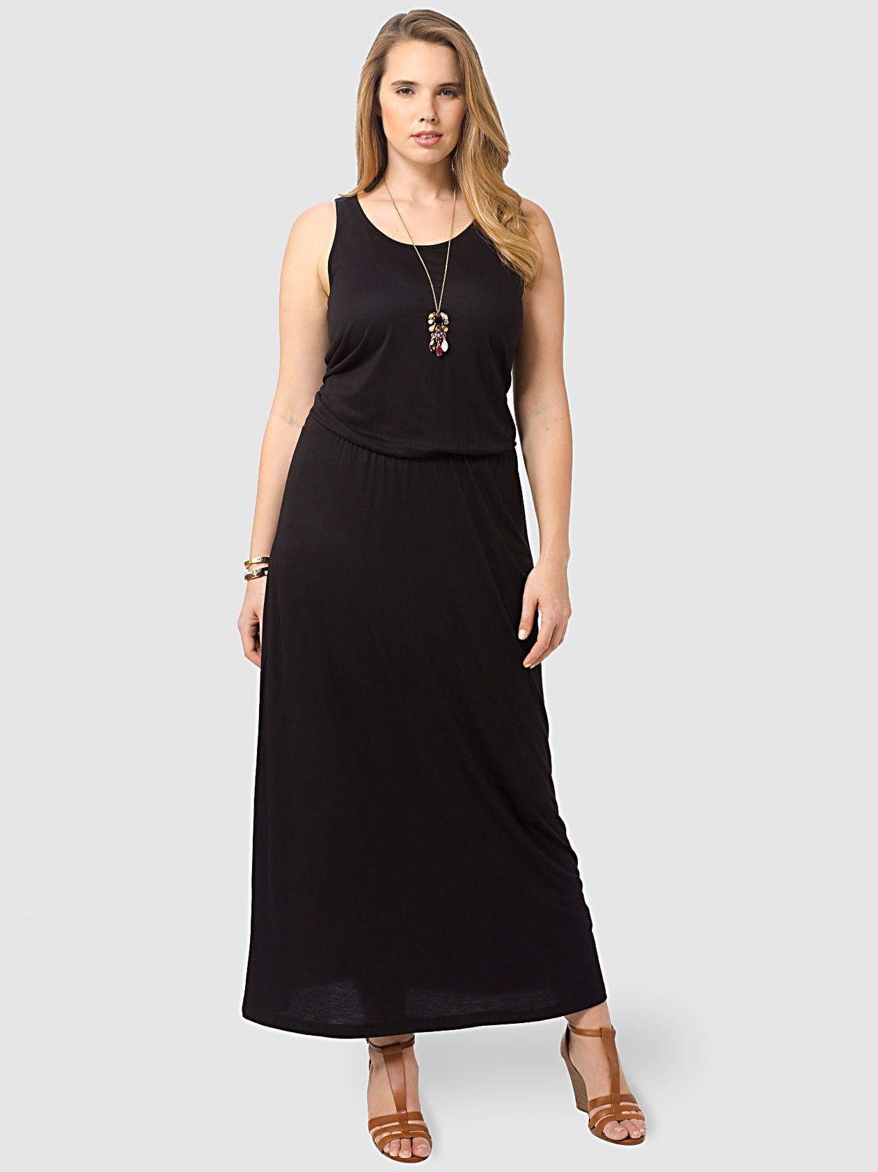 Black Sleeveless Jersey Maxi Dress By Yours Clothing Available In Sizes 14 16 18 20 22 24 26 28 And 30 Maxi Jersey Dress Clothes Maxi Dress [ 1684 x 1261 Pixel ]