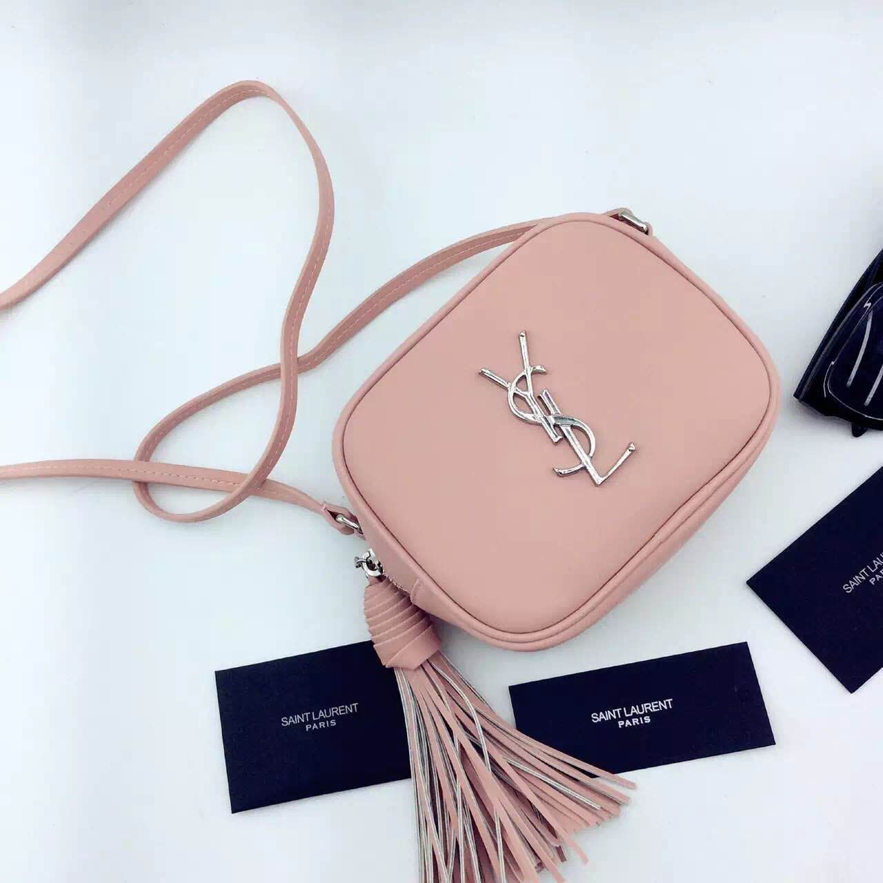 New Arrival!2016 Cheap YSL Out Sale with Free Shipping-Saint Laurent  Monogram Medium Blogger Bag in Pink Leather 6570970191186