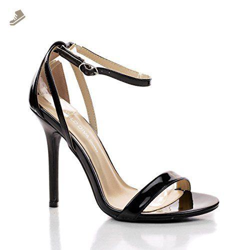 2fd83e6d0f1f0 Adele94 Black Criss Cross Ankle Strap Open Toe Classic Dress Heels ...