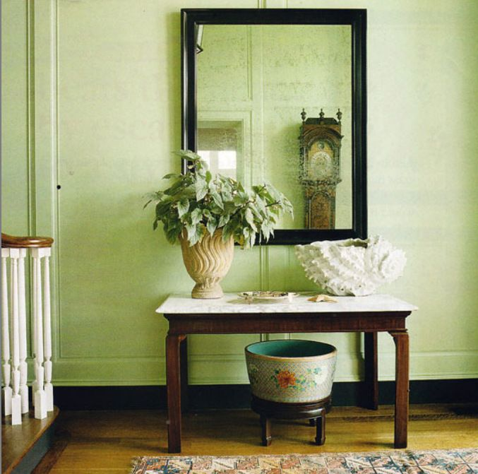 Traditional Style Hallway With Celery Green Walls Dining Room Accent Wall Decor Home Decor