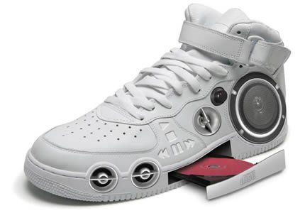 Gangster CD Stereo Sneakers    Yes folks, we live in a really really geeky world where people does not only think of a crazy gadget like this but also turn them into reality.  The Gangster CD Stereo Sneaker is a sneaky way to play your favorite tracks. Resembling the looks of a shoe, the stereo sneaker can intake CDs and blast out music.