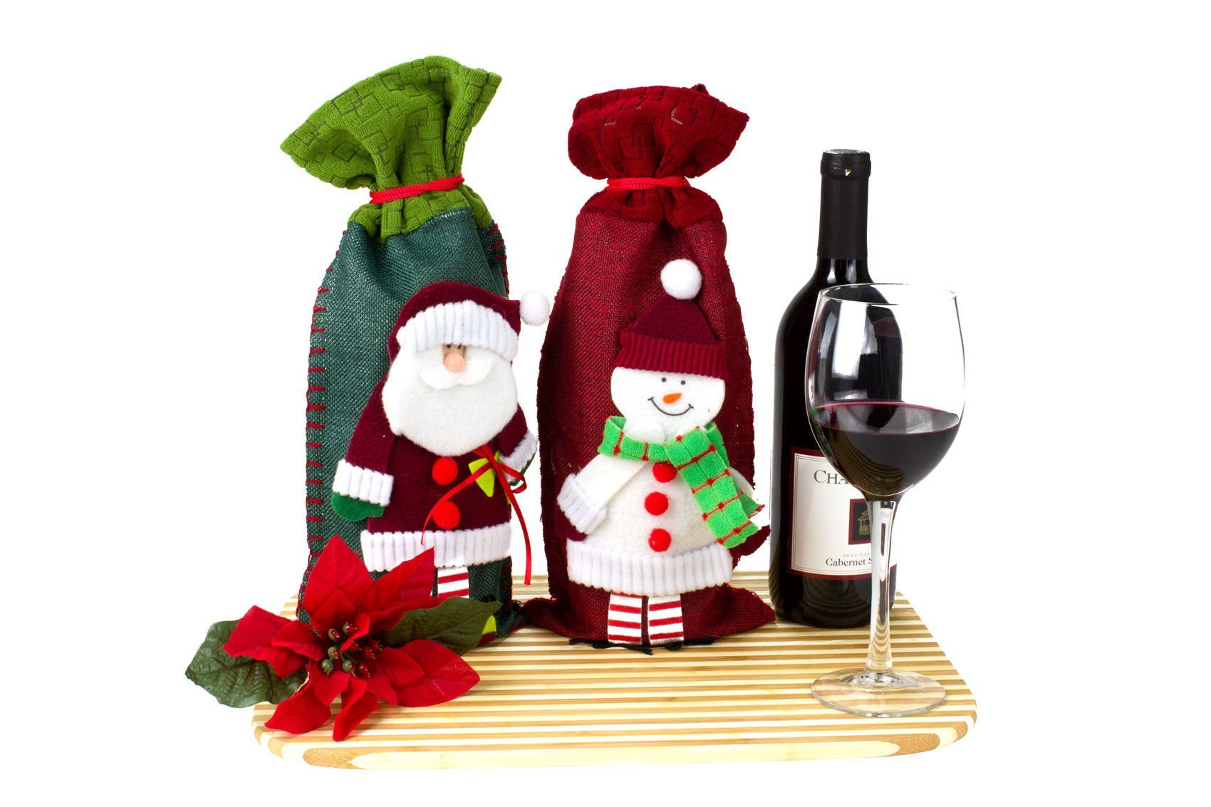 2 Piece Christmas Wine Gift Bag Set   Christmas wine, Snowman and Gift