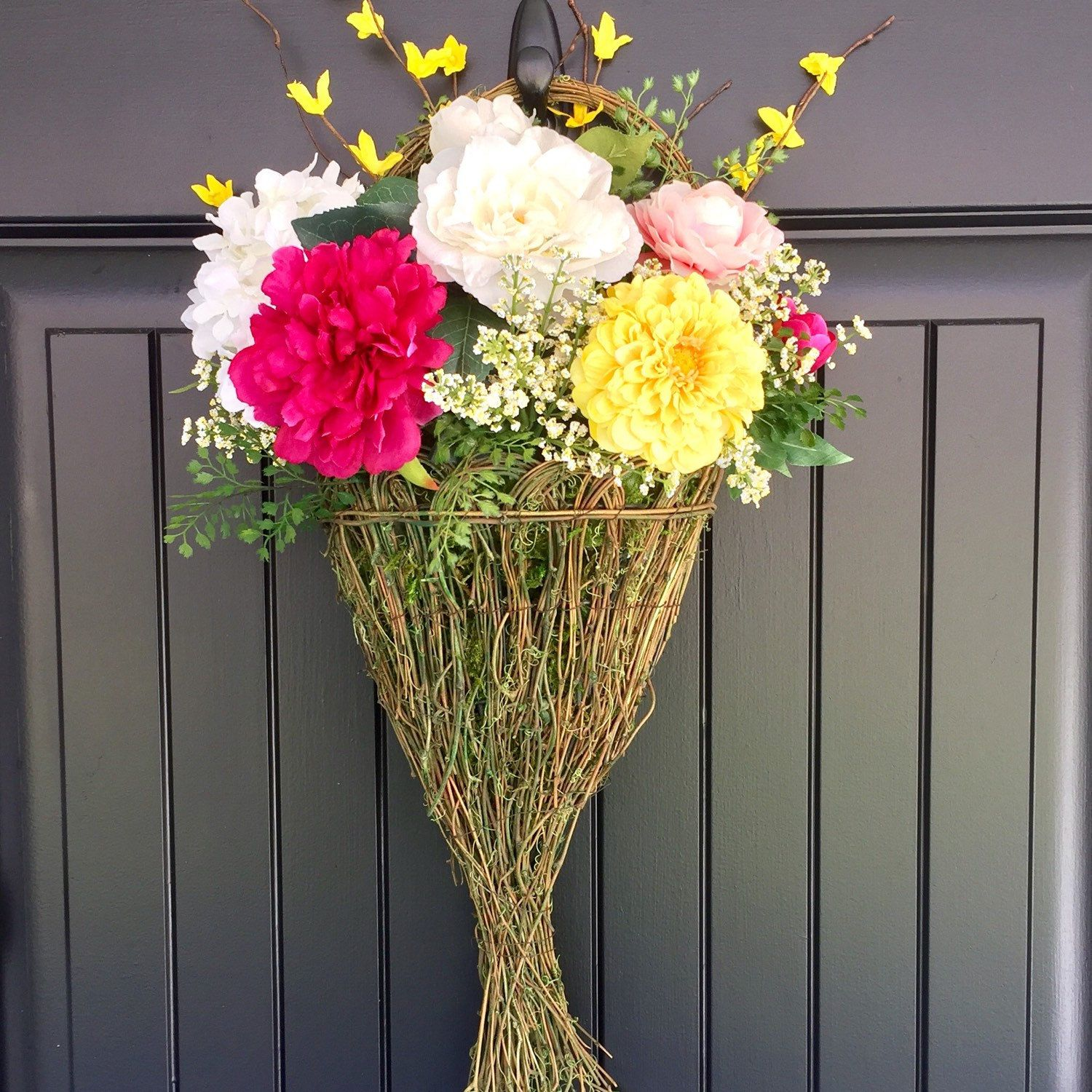 Natural Grapevine And Moss Hanging Basket Floral Arrangement, Front Door
