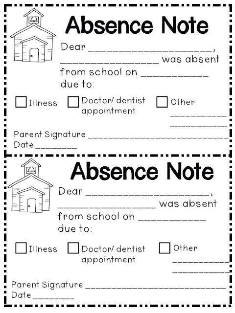 Absence note printable Printable Pinterest School