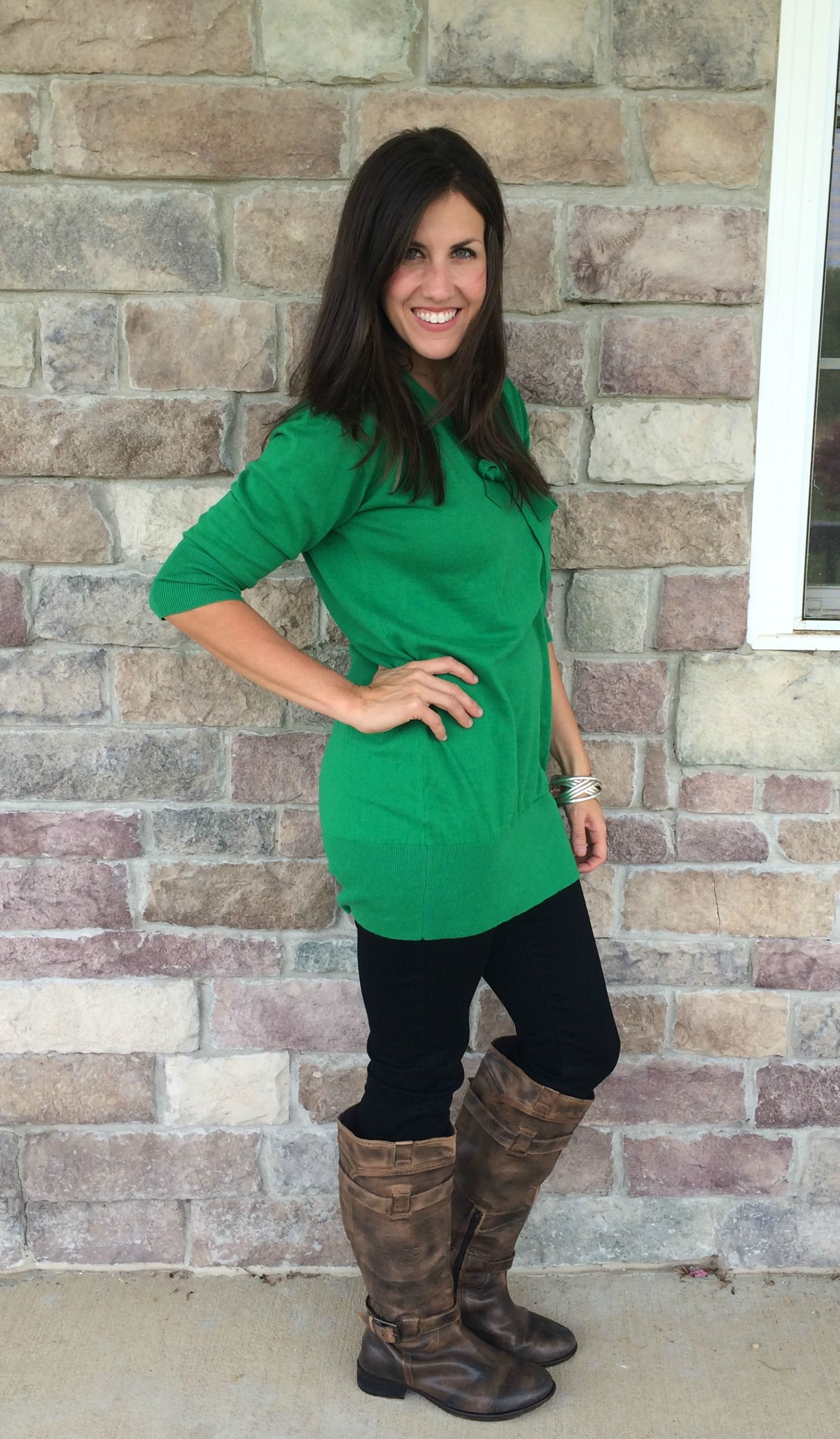 Emerald Green Tunic Sweater, Black Jeggings, Brown Boots outfit ...