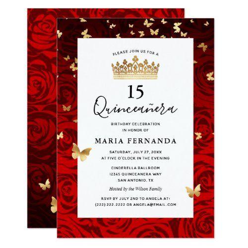 Elegant Red Black Gold Crown Floral Quinceanera In