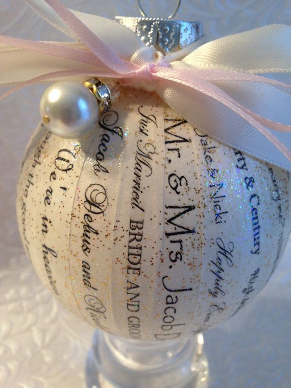 Cut Up Strips Of A Wedding Invitation And Stuff Them Into Clear Ornament For S First Christmas Together Great Gift Ideas Pinterest