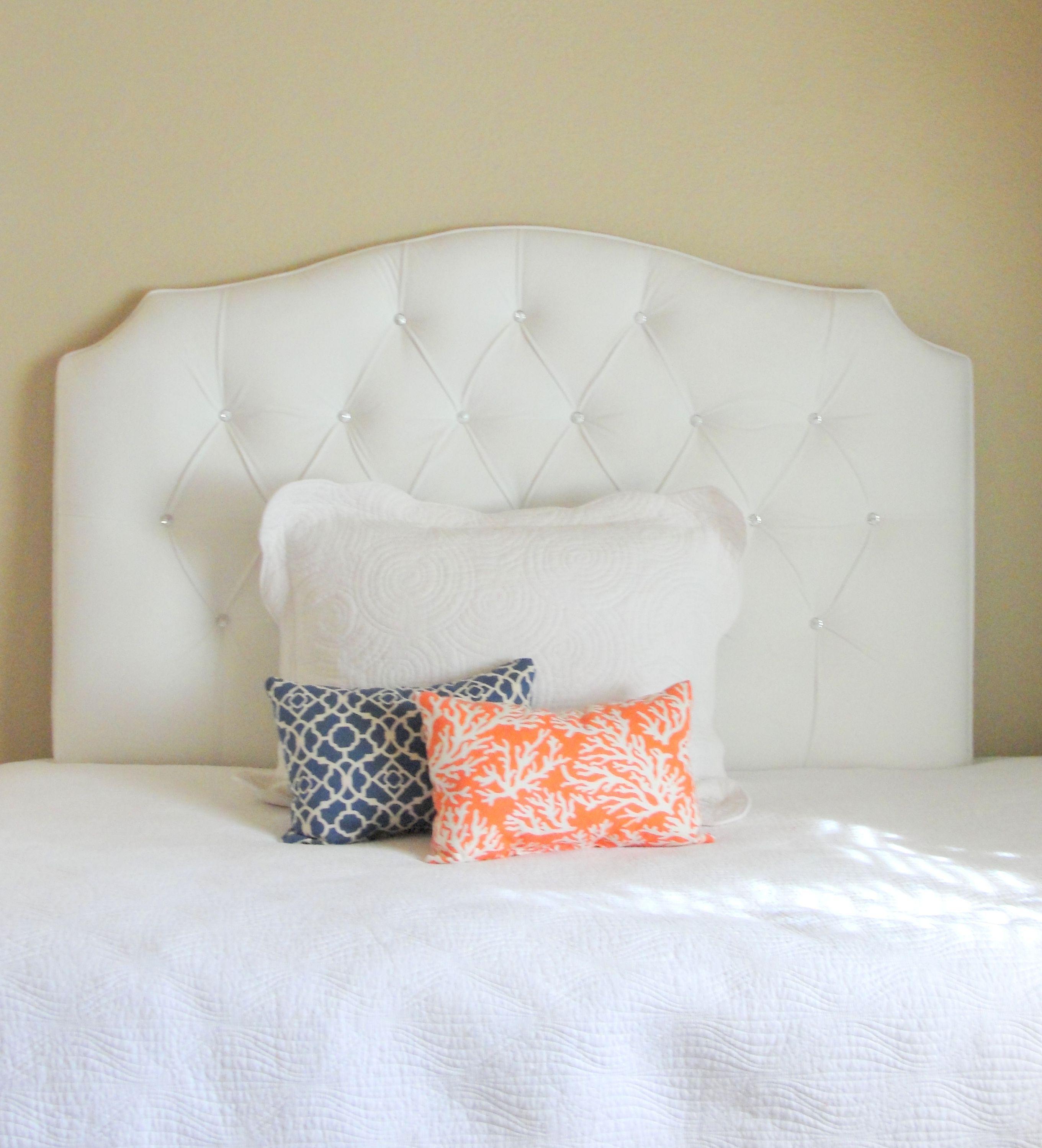 Full sized tufted upholstered white velvet headboard with crystal ...