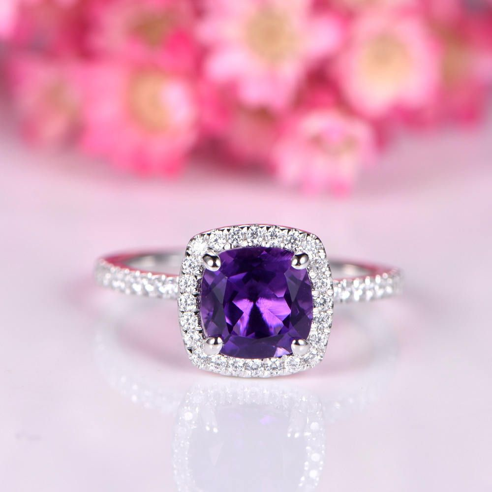 Soild Amethyst ring diamond engagement ring 6mm cushion shape ...