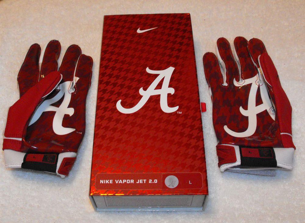 Alabama nike vapor jet 20 football gloves size xl crimson