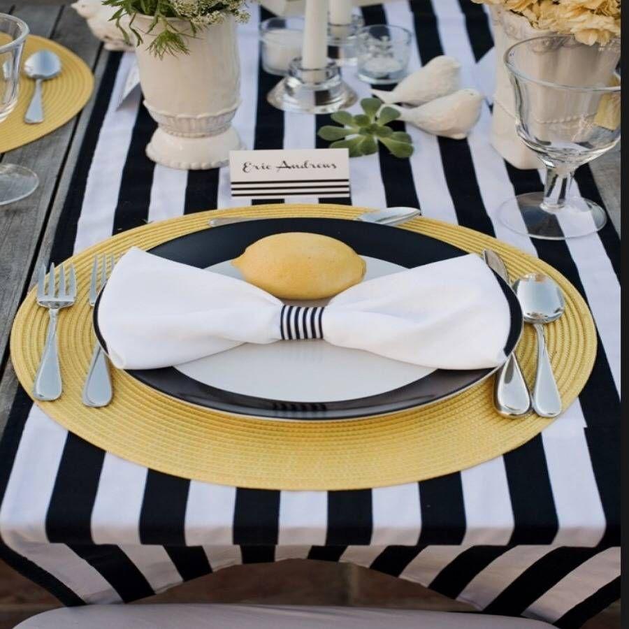 Black And White Satin Stripe Table Runner