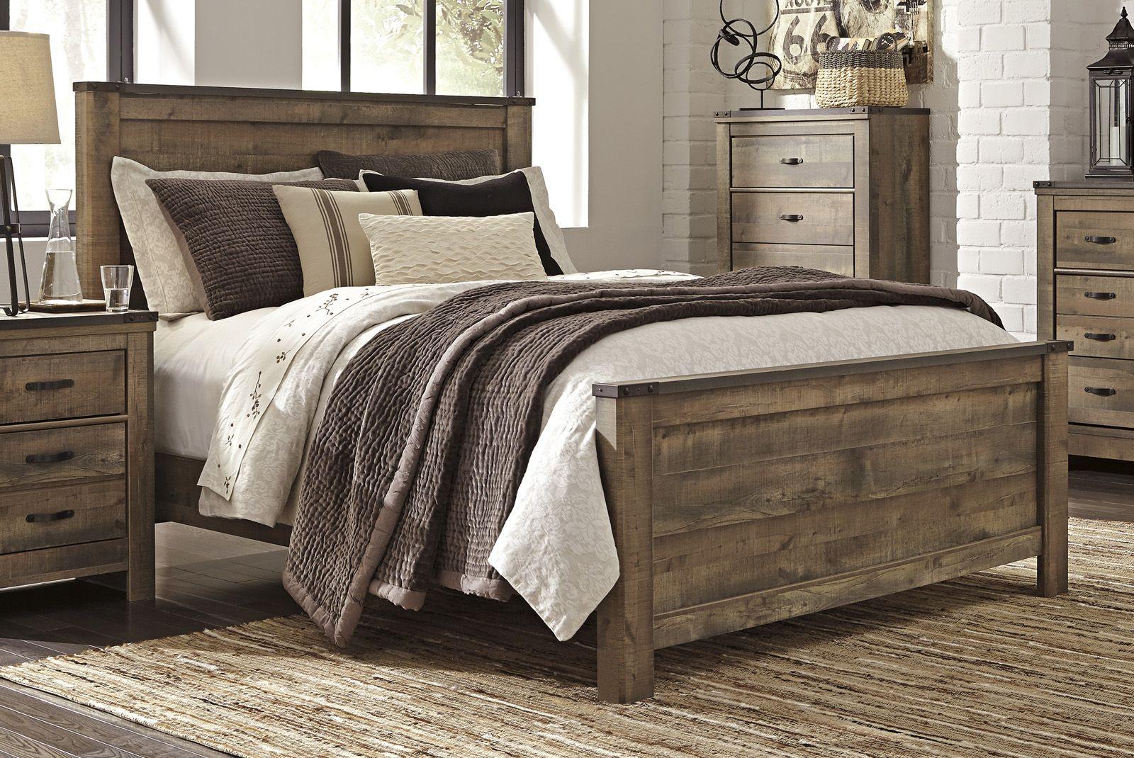Trinell Queen Panel Bed In Warm Rustic Oak B446 Queen Clearance King Bedroom Sets Wood Bedroom Sets Rustic Bedroom Furniture
