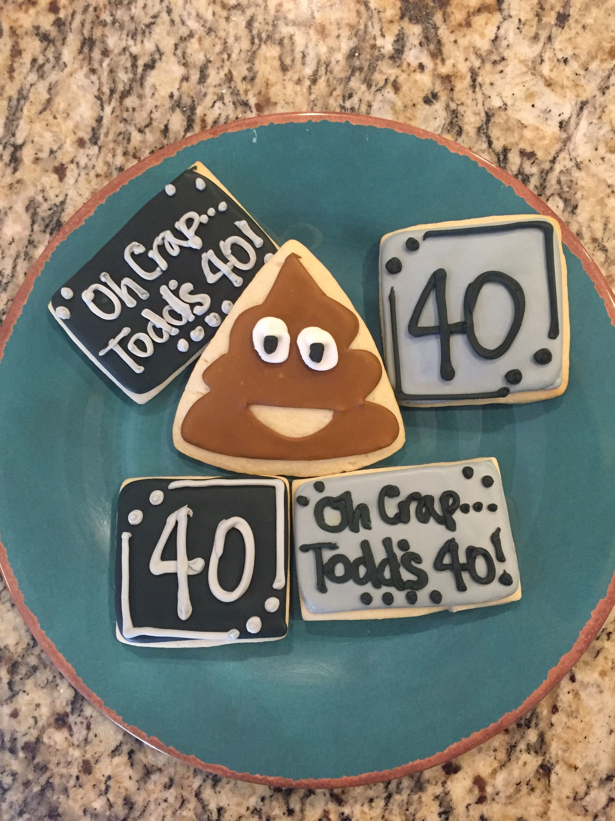 40th Birthday Poop Emoji Sugar Cookies