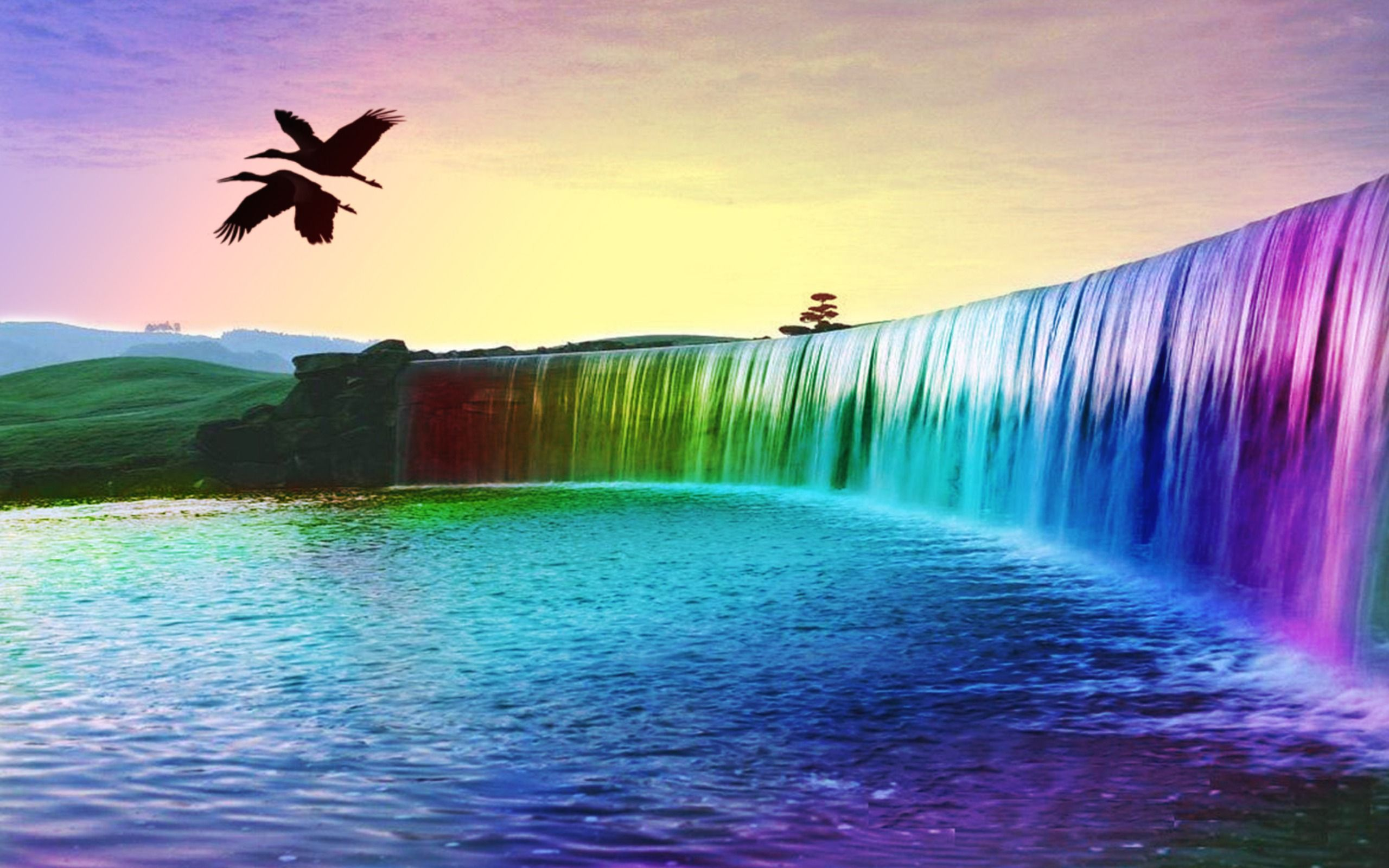 Beautiful Scenery Widescreen High Quality Wallpaper Photo Rainbow Waterfall Colorful Landscape Waterfall Wallpaper