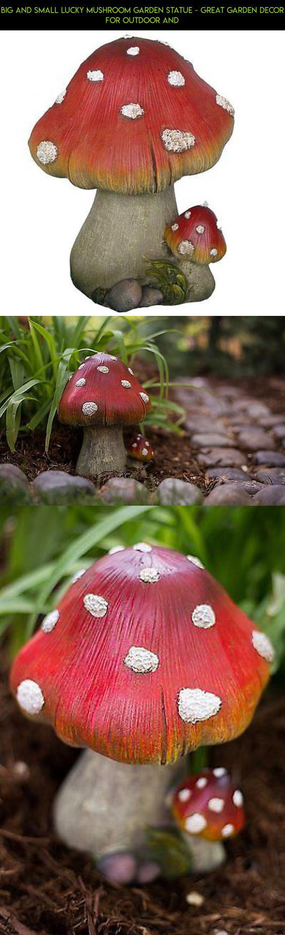 Garden decor statues  Big and Small Lucky Mushroom Garden Statue  Great Garden Decor for