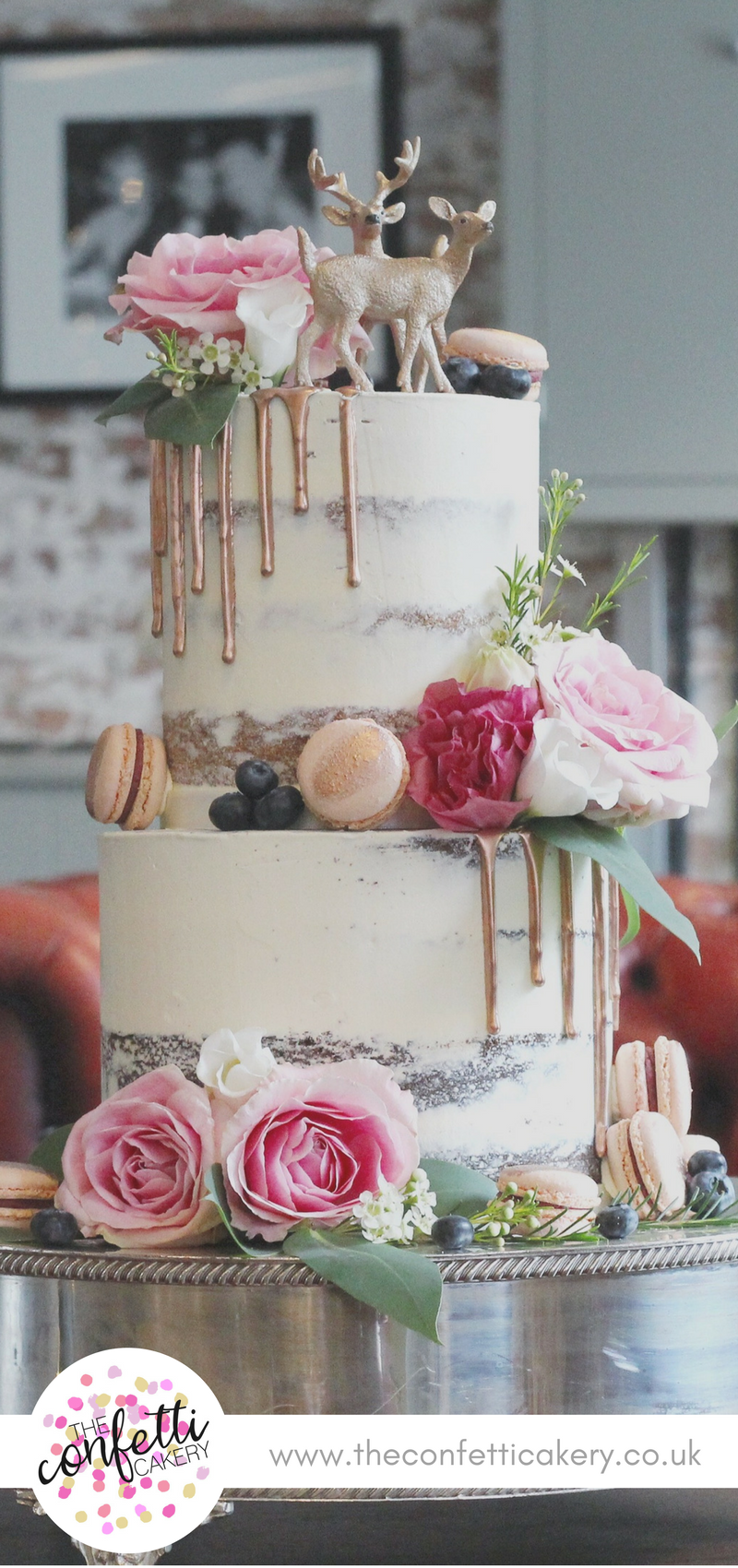 Modern wedding decor images  Modern seminaked wedding cake with macarons rose gold drips and