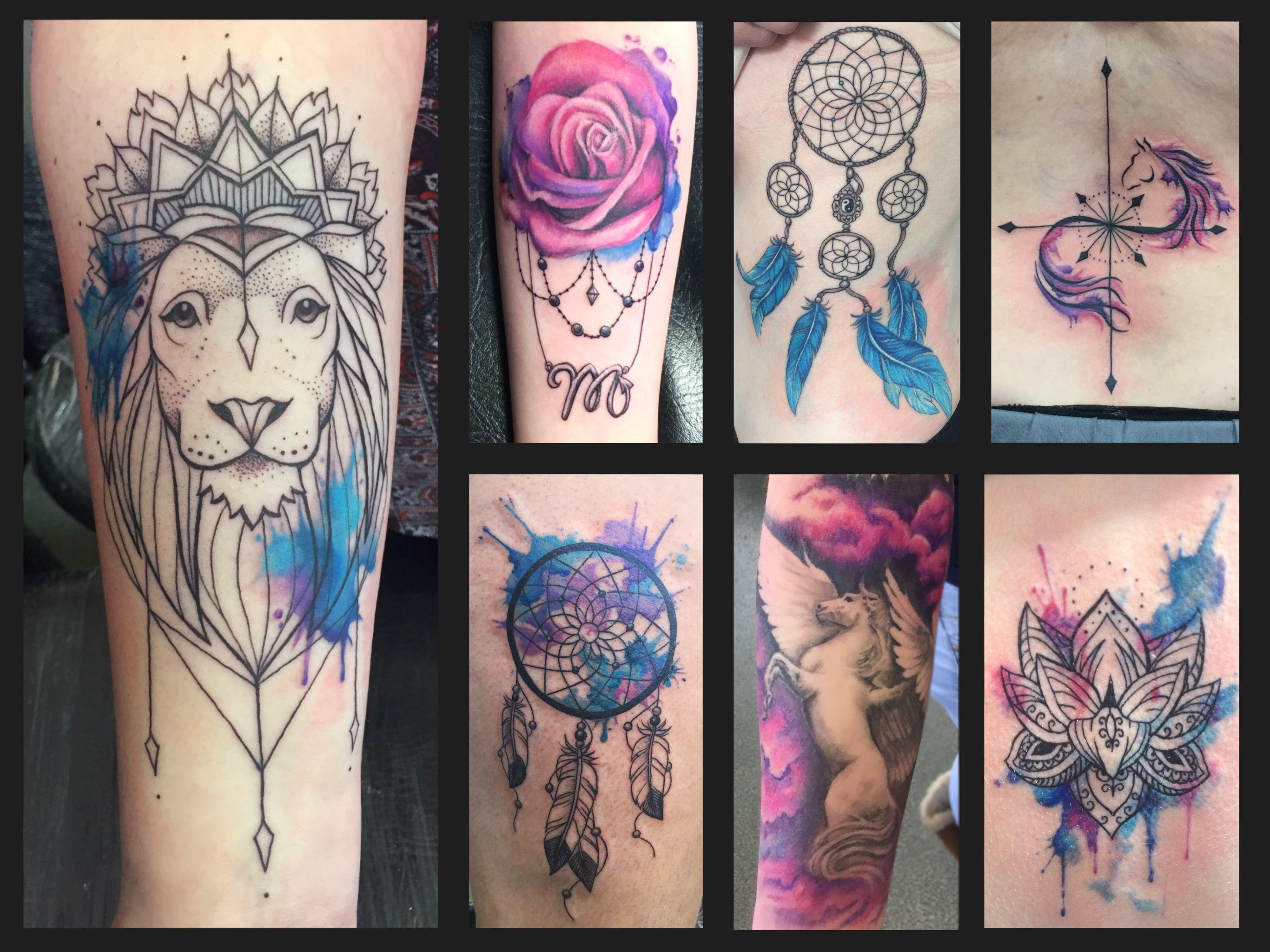 a08424e54b445 Lion watercolor tattoo, rose, dream catcher, horse, Pegasus, lotus,  pattern, pink, purple, blue, feathers