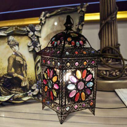 Exótico mesa lámparas para el dormitorio idílico Desk Light Fixture de colores con cuentas