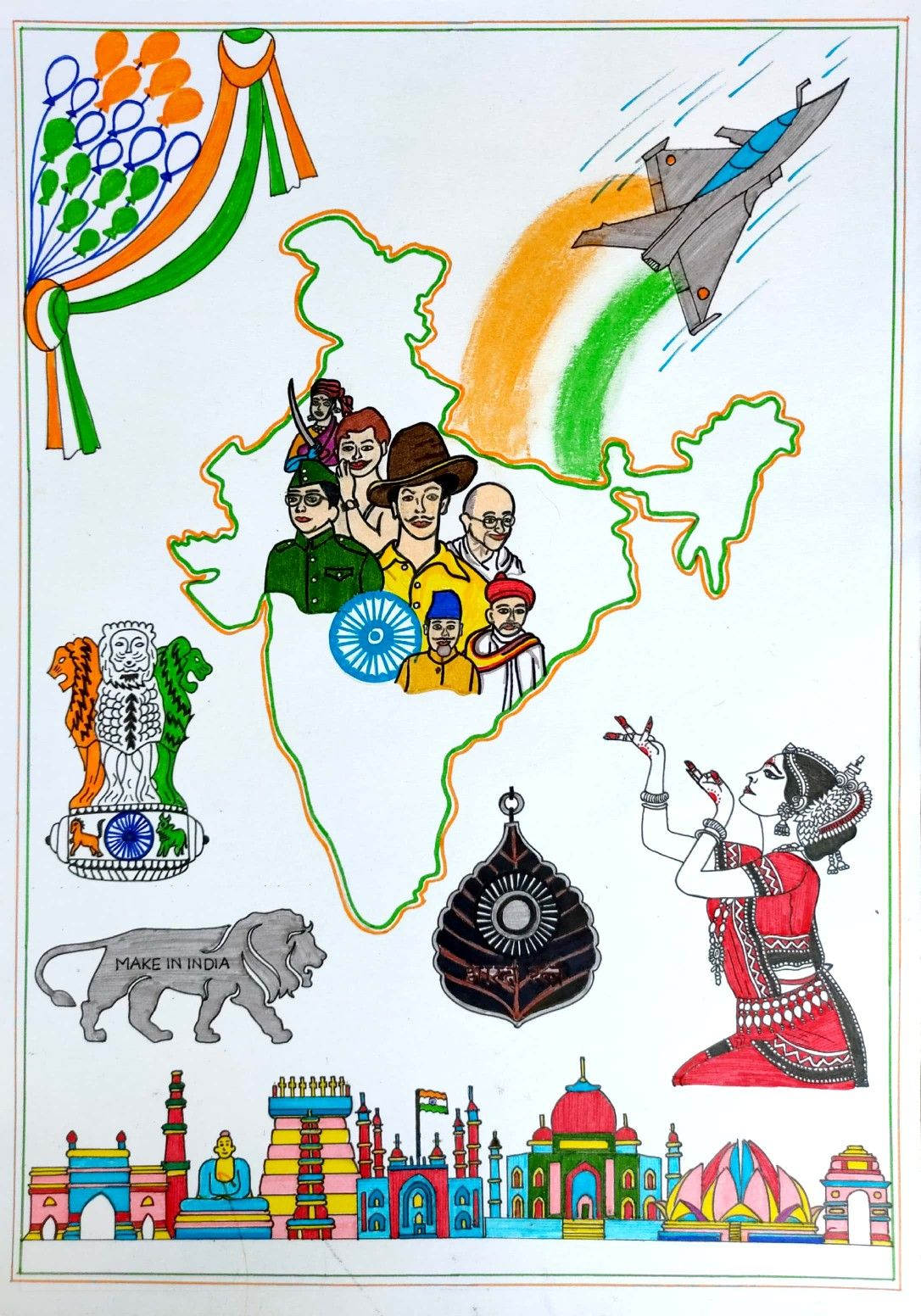 Hamara India Theme Drawing Freedom Fighters Of India Freedom Fighters Fun Crafts For Teens