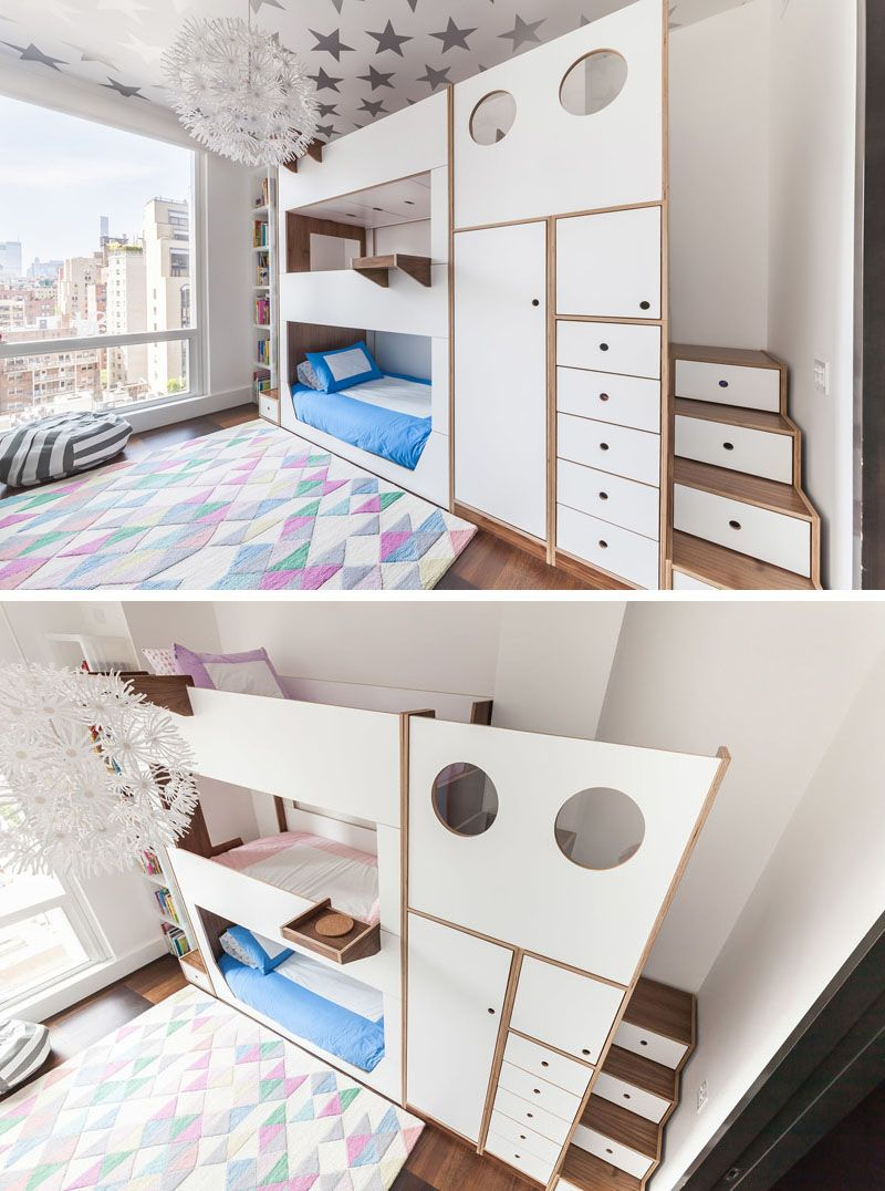 This Triple Bunk Bed Was Designed With Storage And Stairs Triple Bunk Bed Bunk Beds With Storage Kids Bunk Beds