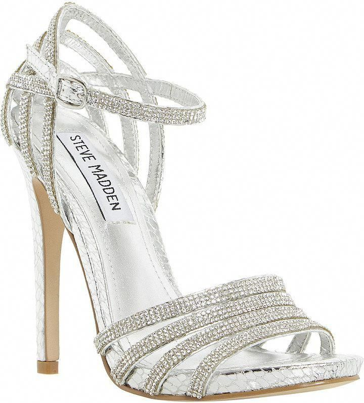 5182c318cef Steve Madden silver high heel sandals   strappy   sparkly!  Promshoes