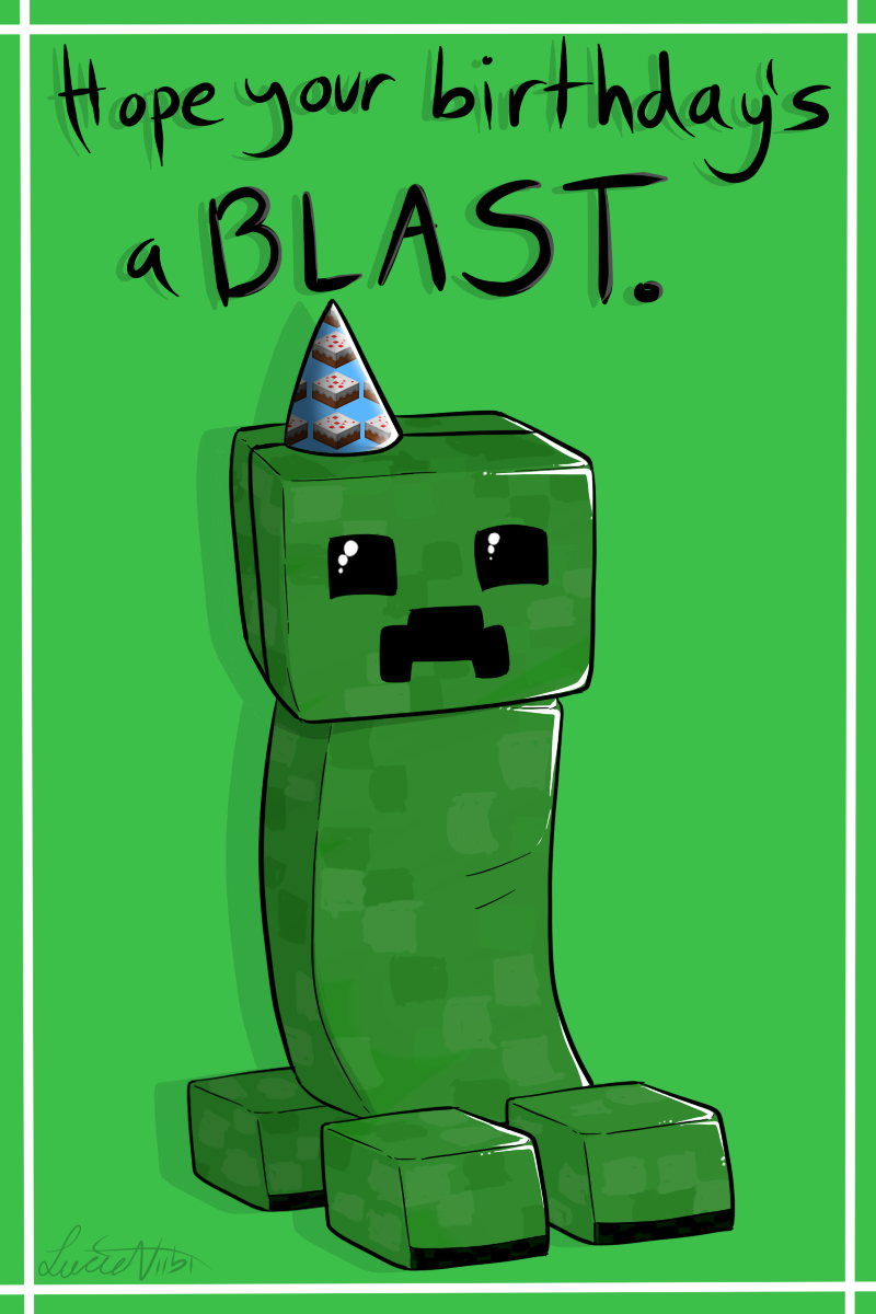 photograph about Minecraft Birthday Card Printable named Creeper Birthday Card via upon