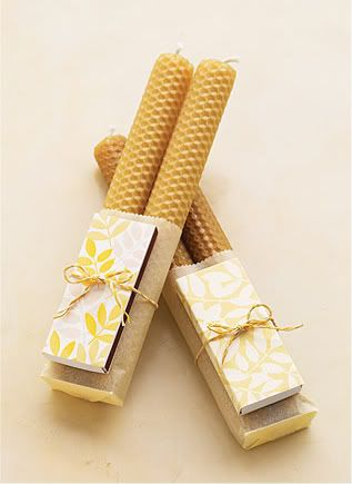 a sweet wedding favor: beeswax candles