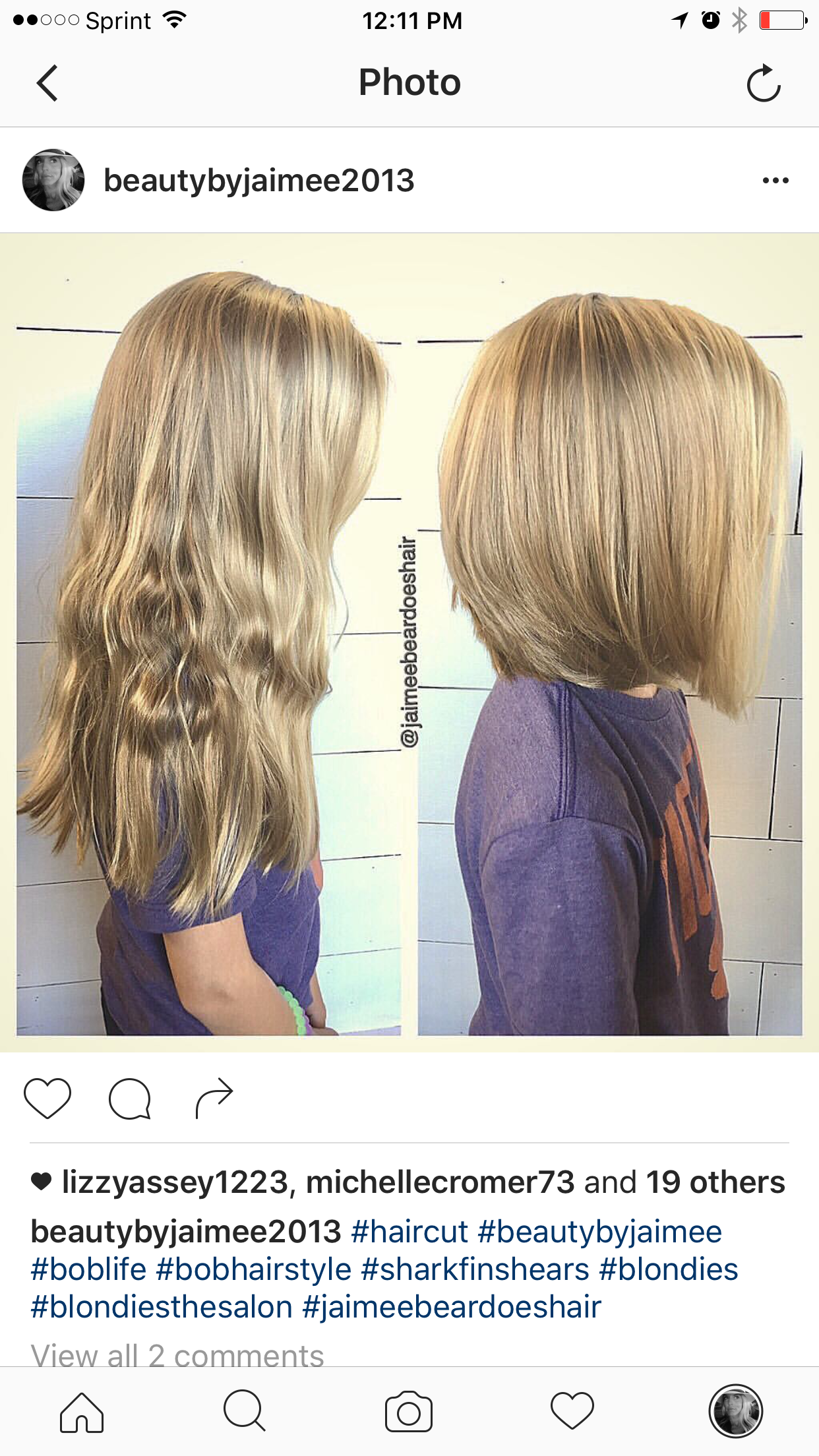 Little girls haircut from long locks to shoulder length bob