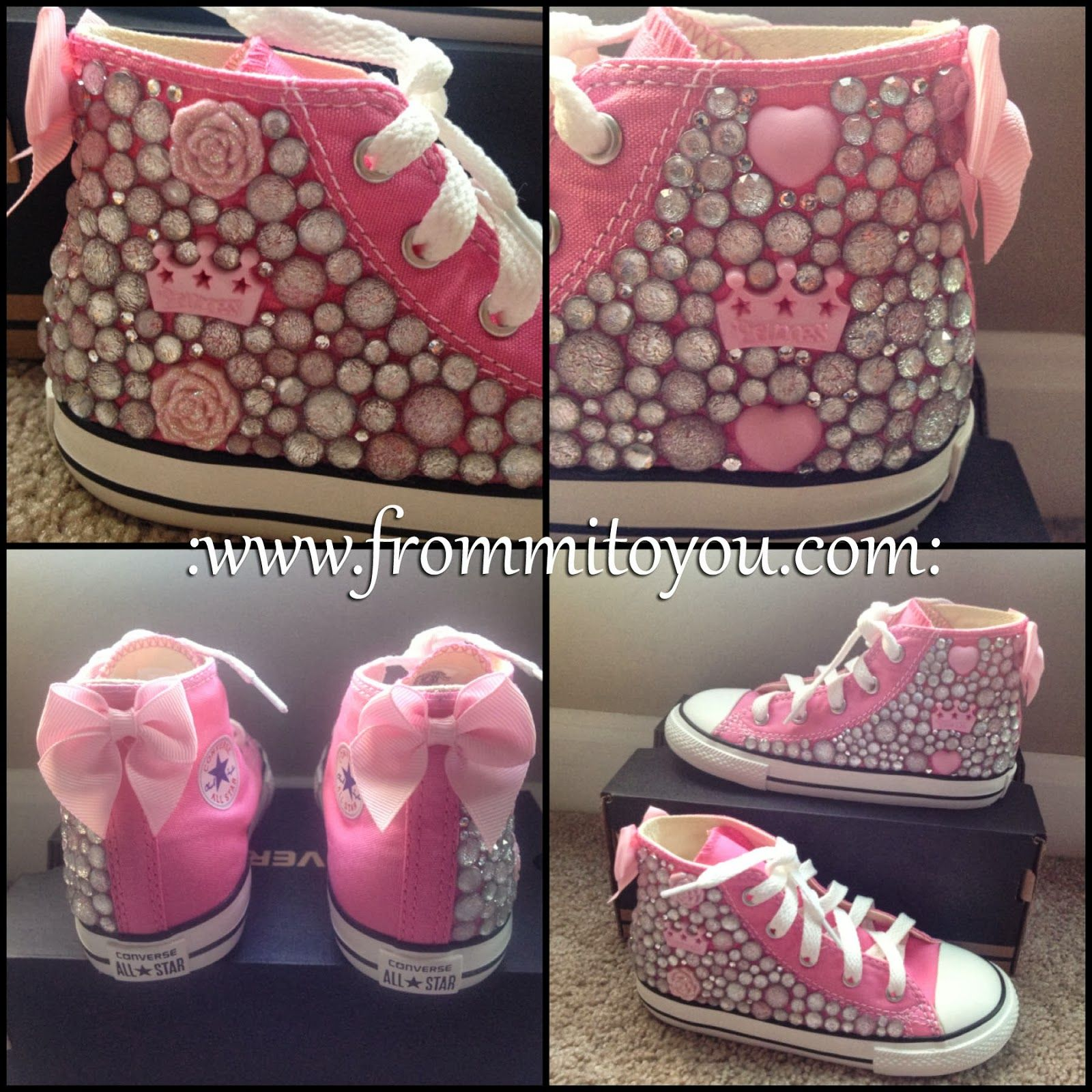 55bcdd57ba31 Embellished Junk Chuck sby From Mi To You  shoes  converse  chucktaylor   bling  kids  girl  bow  pink  girlie  princess  flower  frommitoyou