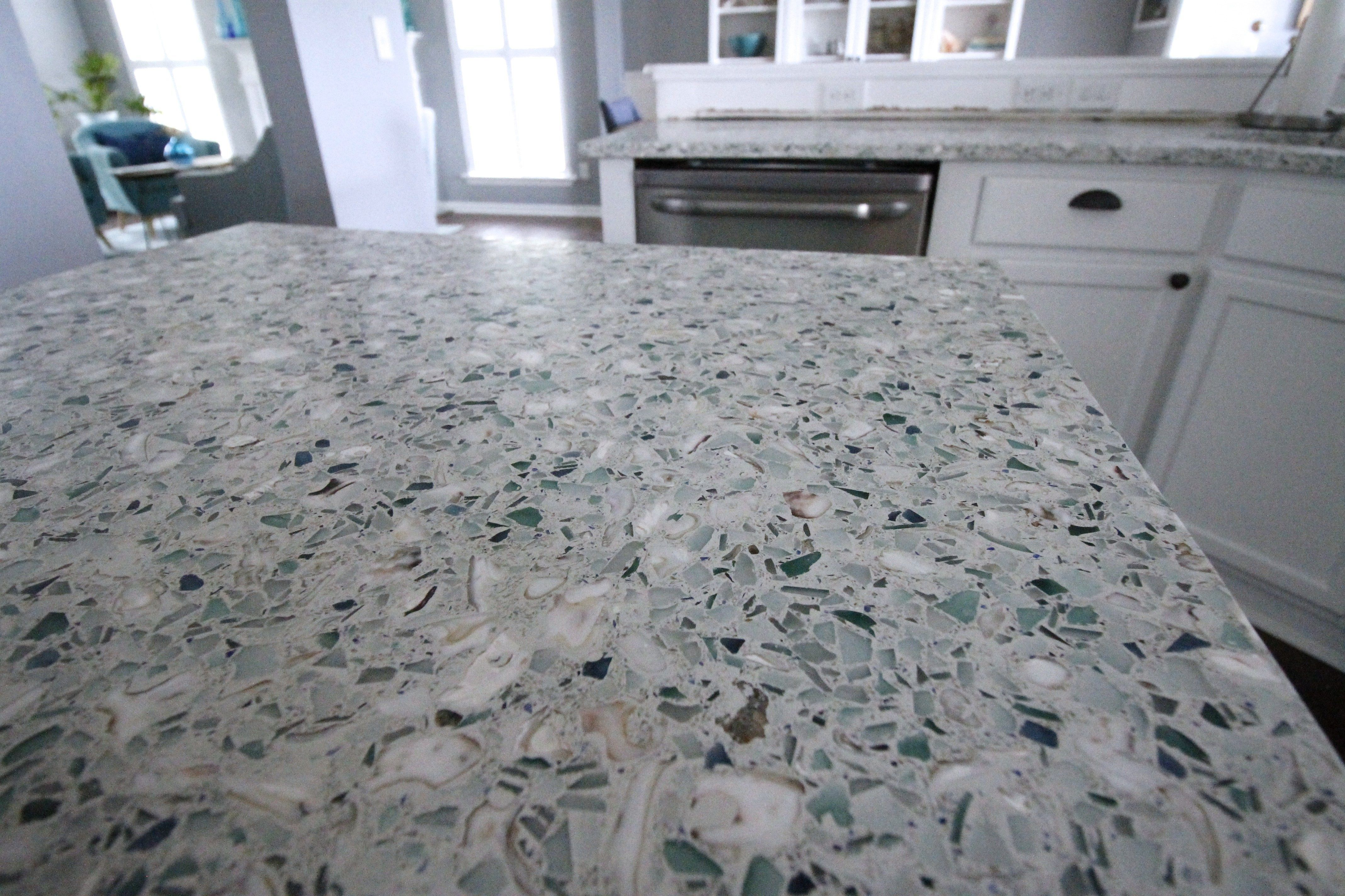 Coastal Terrazzo Countertops We Have Counter Tops All Of The Details Of Ou Glass Concrete Countertops Glass Countertops Recycled Glass Countertops