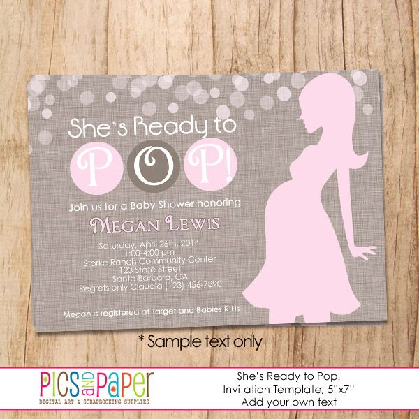 Ready to pop baby shower invitations shes ready to pop pink ready to pop baby shower invitations shes ready to pop filmwisefo Images
