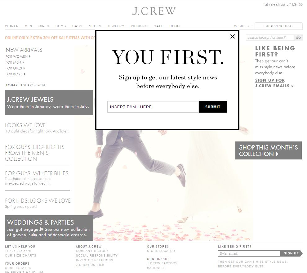 J Crew Newsletter Signup Pop Up Example Email Popup Email Marketing Inspiration Funny Emails