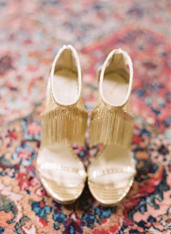 Gold Fringe Wedding Shoes | Photo By Jessica Burke | 100 Layer Cake