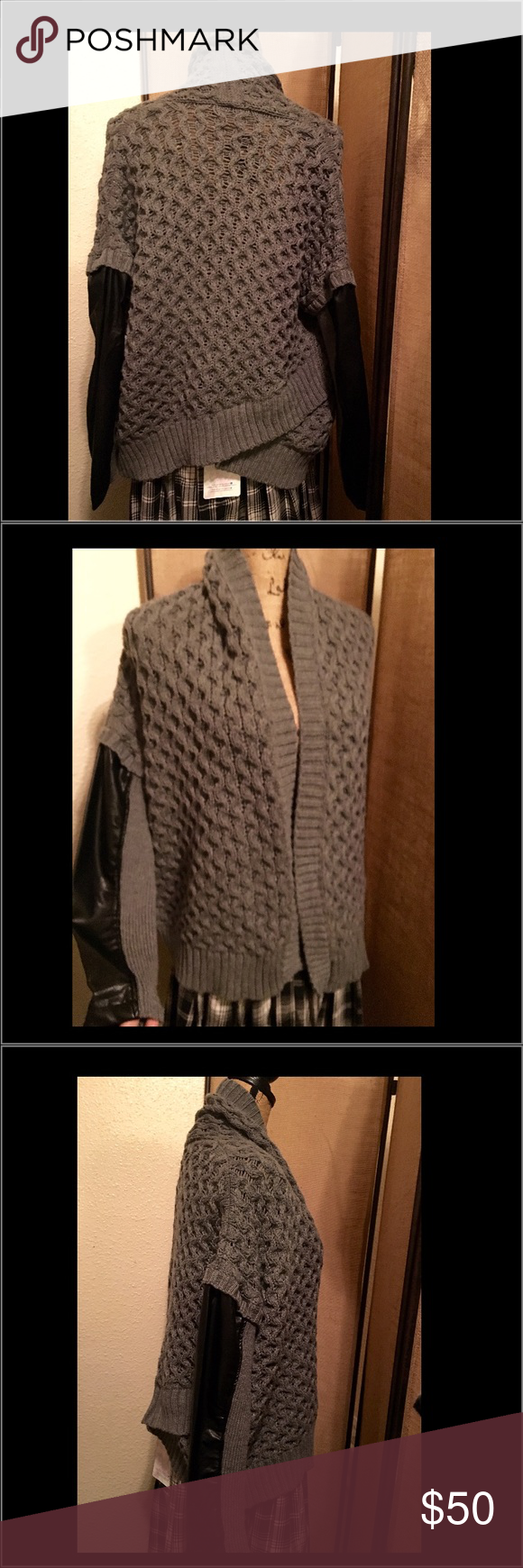 725d2a1f5 Dex Grey and Black Faux Leather Sleeve Cardigan NWT