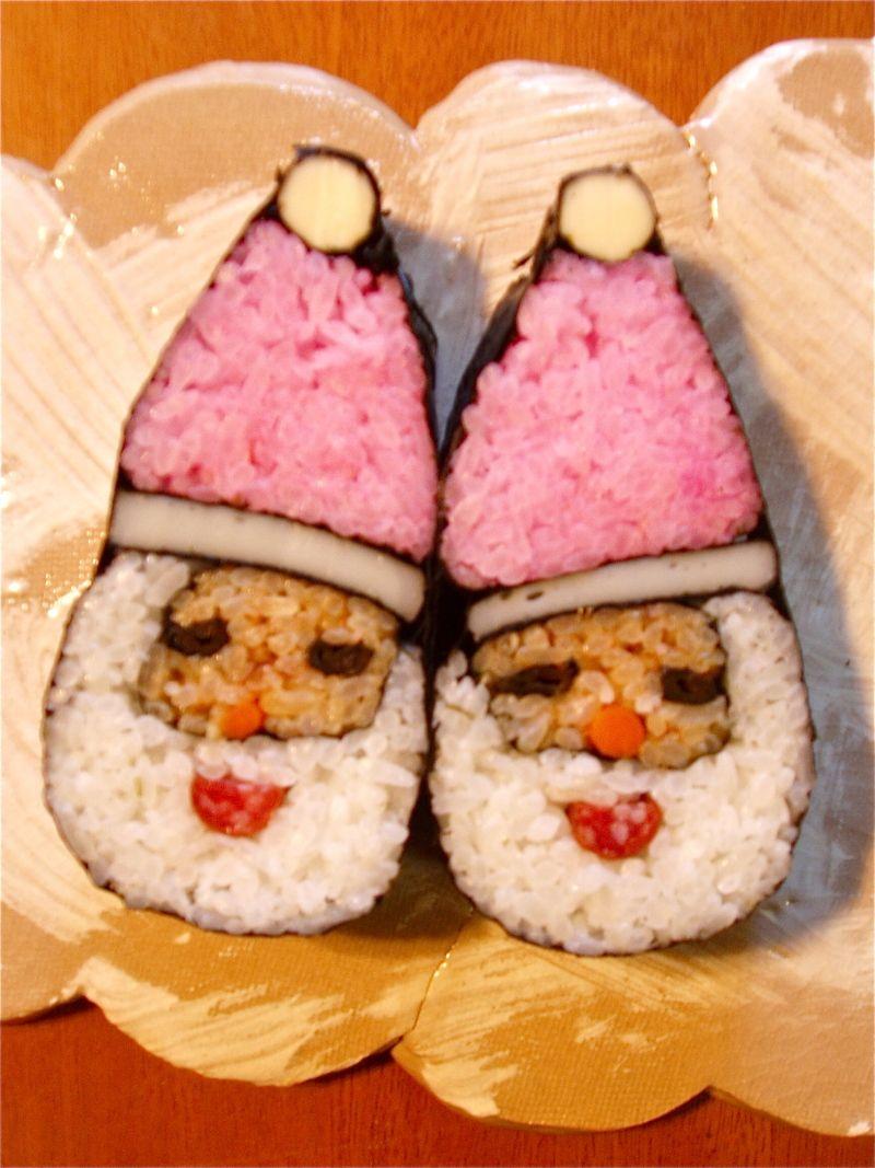 Christmas Santa Sushi made by a Japanese Sushi Artist Tama-chan