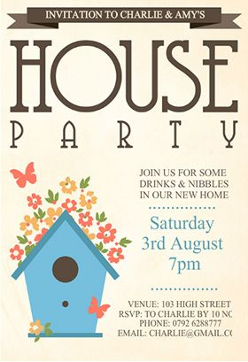 "house party"" printable invitation. customize, add text and photos, Party invitations"