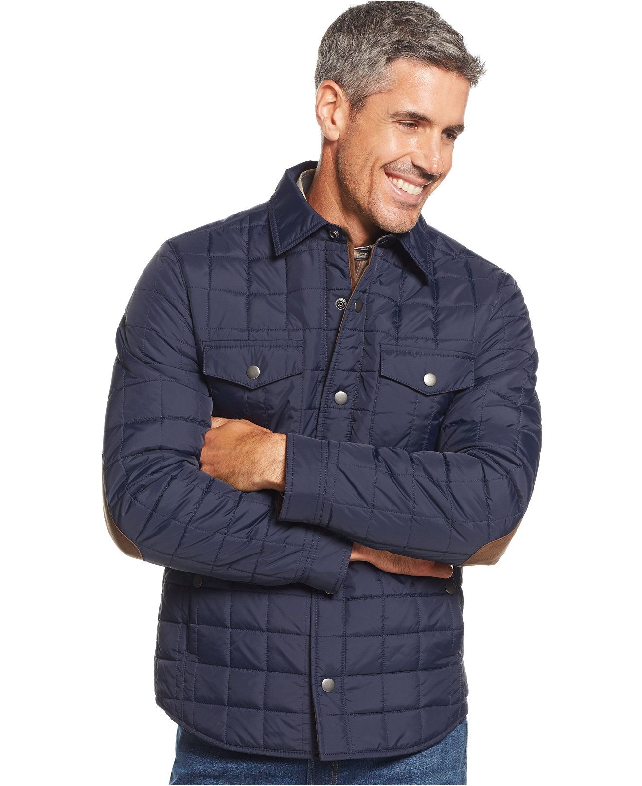 tasso elba quilted shirt jacket coats jackets men macy 39 s mens jackets pinterest. Black Bedroom Furniture Sets. Home Design Ideas