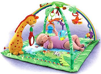Fisher Price Rainforest Melodies Lights Deluxe Gym Baby Activity Mat Baby Gym Baby Play Gym