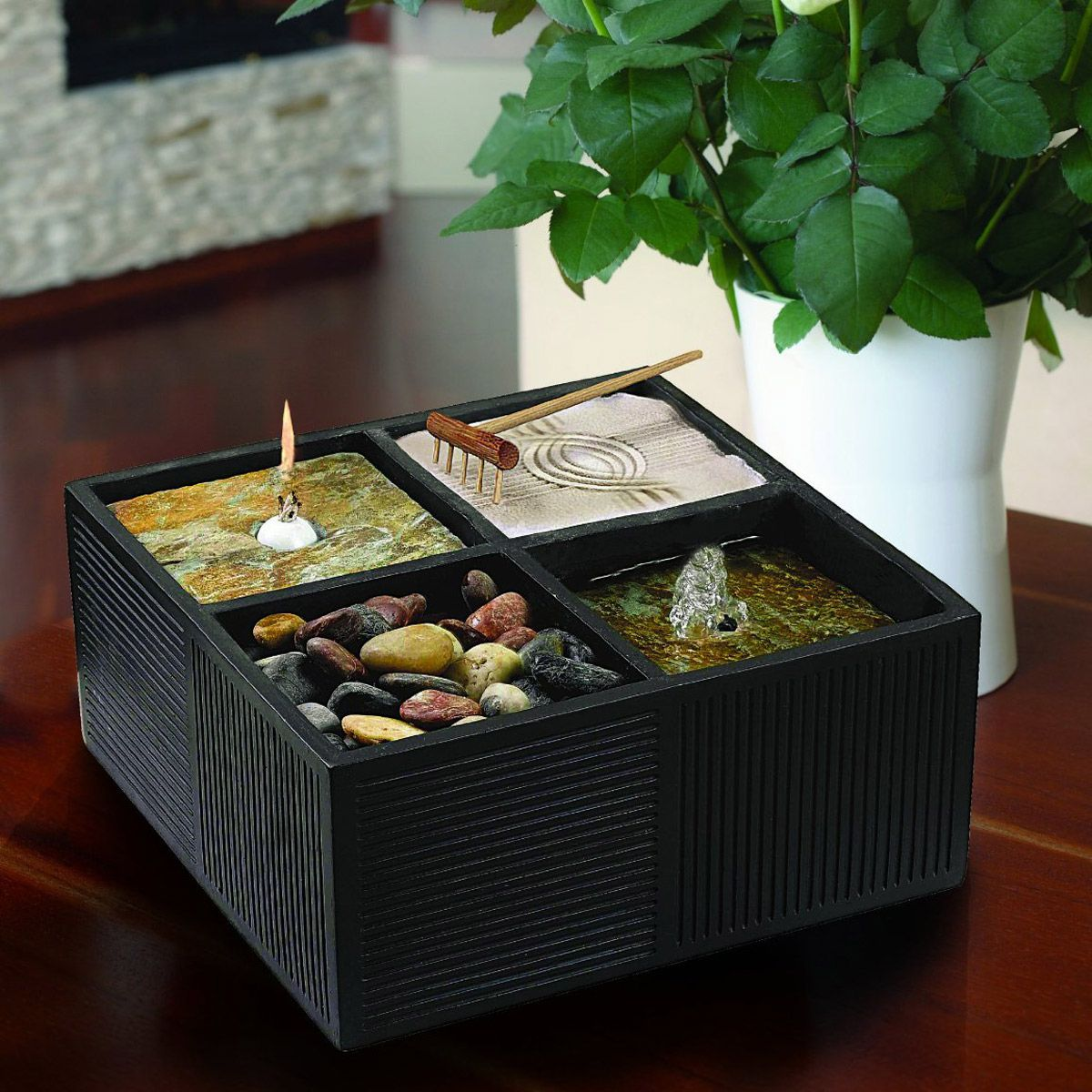This Compact All In One Zen Garden Combines A Small Fountain, A Rock Garden,  A White Sand Garden With A Rake, And An Oil Candle Contained Inside A  Simple ...