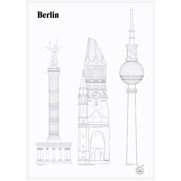 studio esinam Berlin Landmarks Architectural Print ($185) ❤ liked