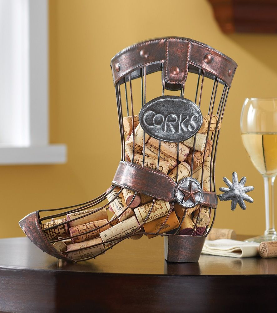 Attractive Cowboy Boot Wine Cork Holder Western Table Decor From Collections Etc.
