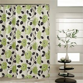 Fabulous Kiwi Green And Black Floral Fabric Shower Curtain By MStyle