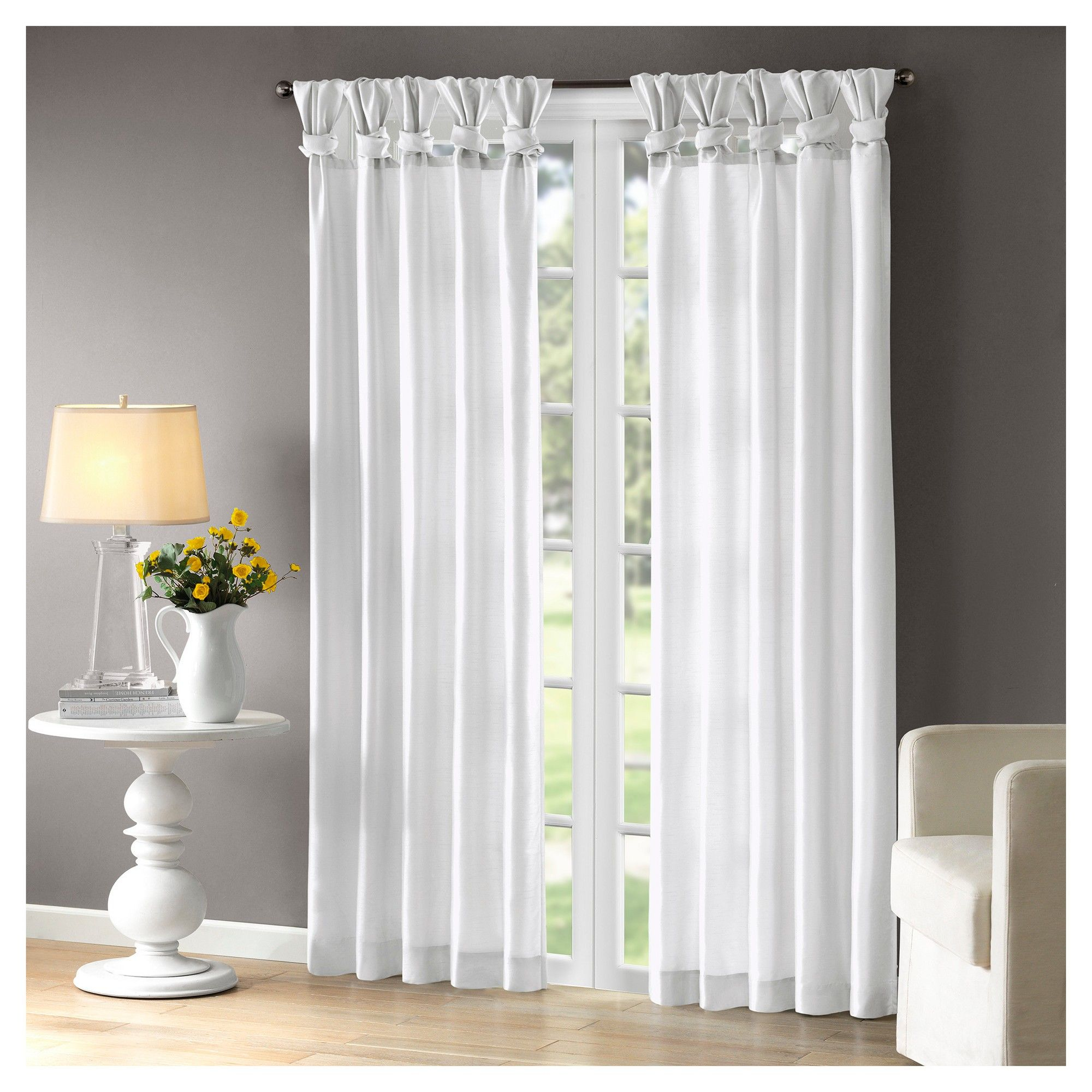 Lillian Twisted Tab Lined Curtain Panel White 50 X84 White