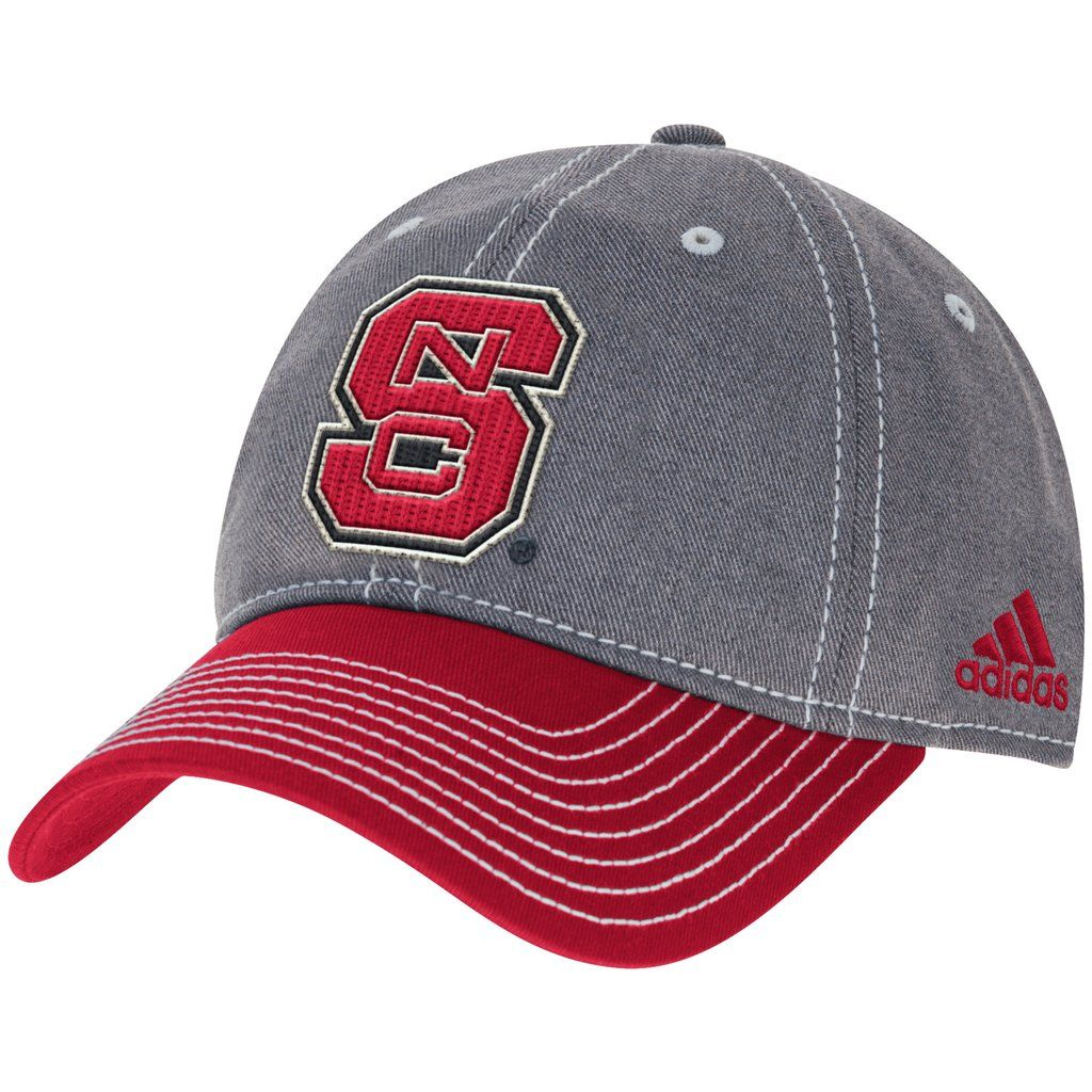 98a9d69914c NC State Wolfpack Adidas Grey Hat Red Bill Adjustable Slouch Hat ...
