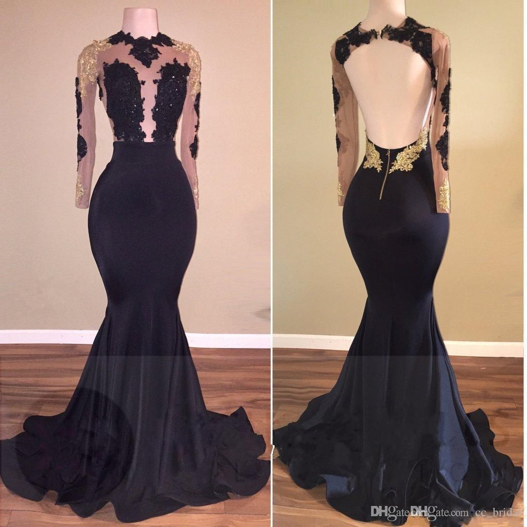 Sheer scoop gold lace formal prom dresses with sexy backless