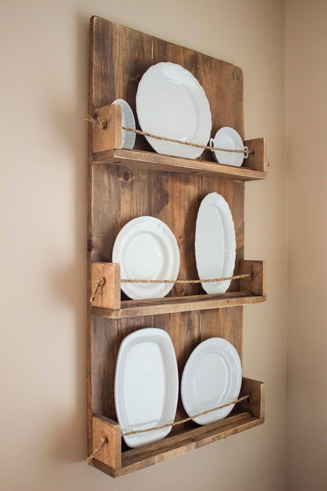 Wooden plate rack. Perfect! Updated fresh new way of displaying pretty plates. Love it!!